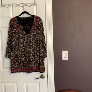 Lucky Brand Bohemian Peasant Top w/ Banded Bottom